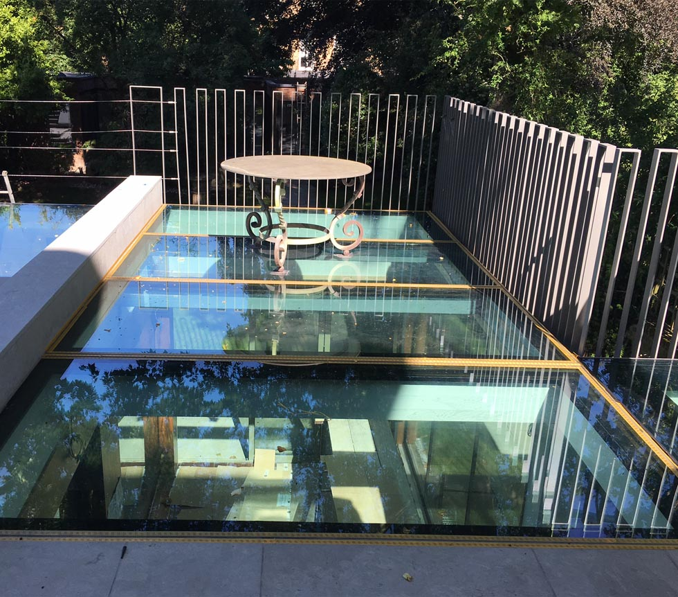 Glass walk on roof