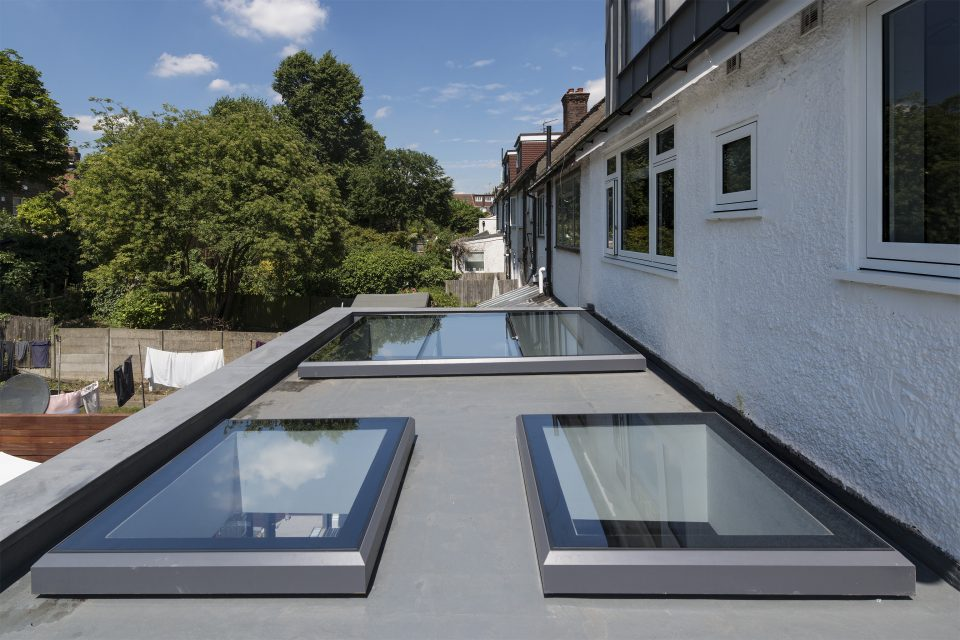 Fixed Multi-Panel Rooflight with glass beams and Fixed Skylights