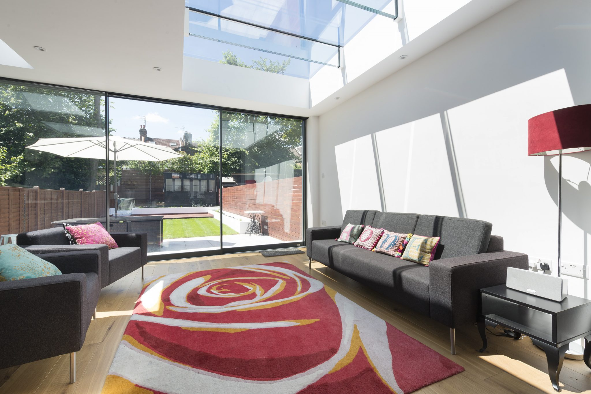Fixed Multi-Panel Skylight with Glass Beams