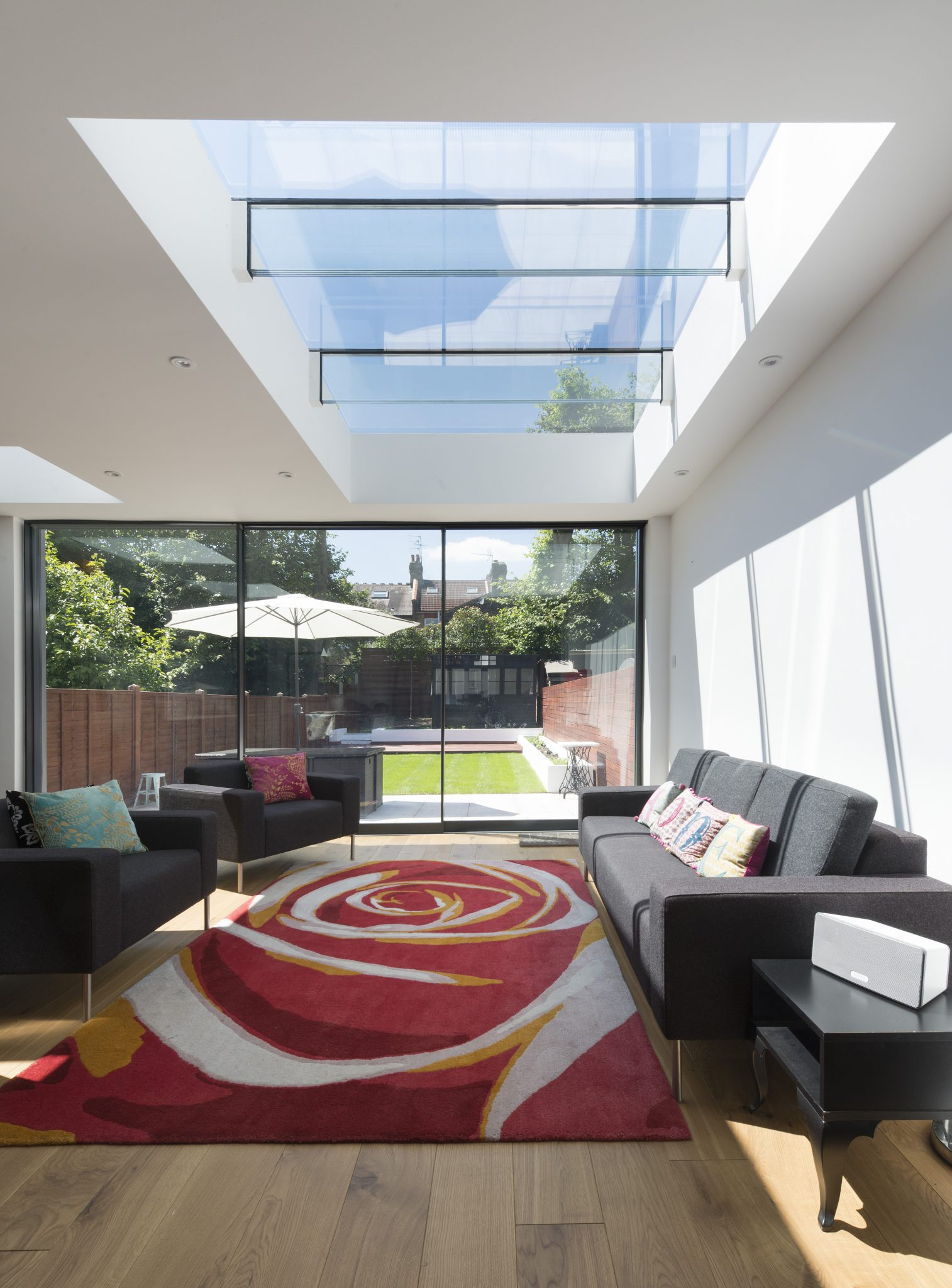 Fixed Multi-panel Skylights with Glass Beams and Fixed Skylights