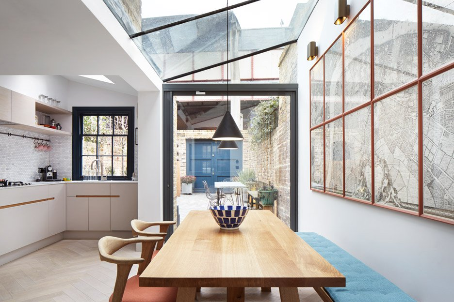 Glass rooflights in extension