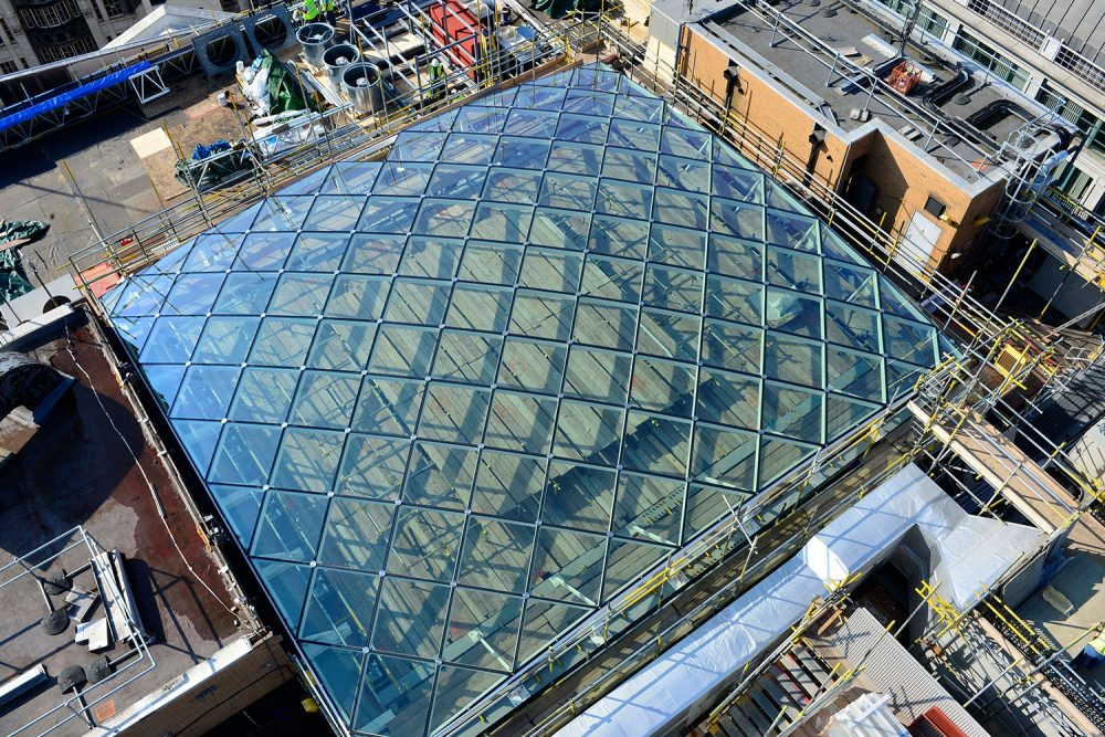 Gridshell Rooflight Ariel View - Arcadia HQ, London