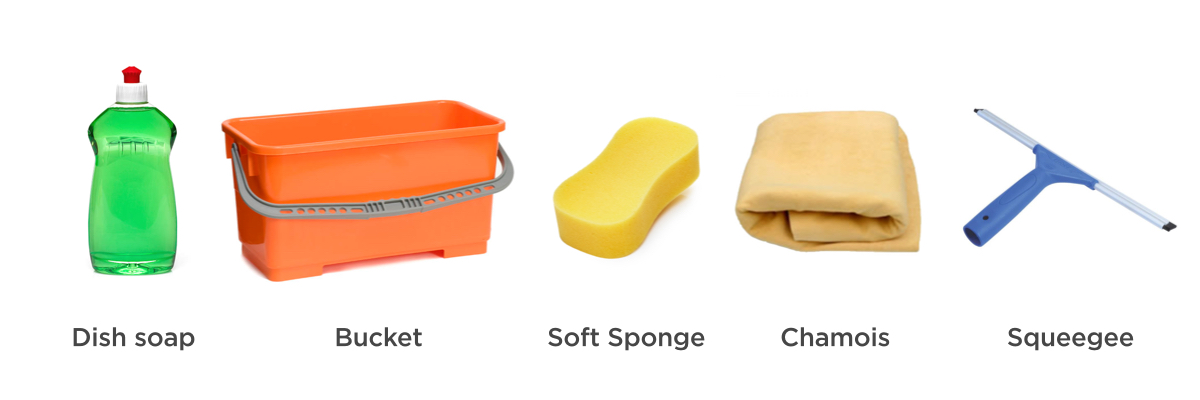 The right tools for the job - dish soap, bucket, soft sponge, chamois and squeegee.