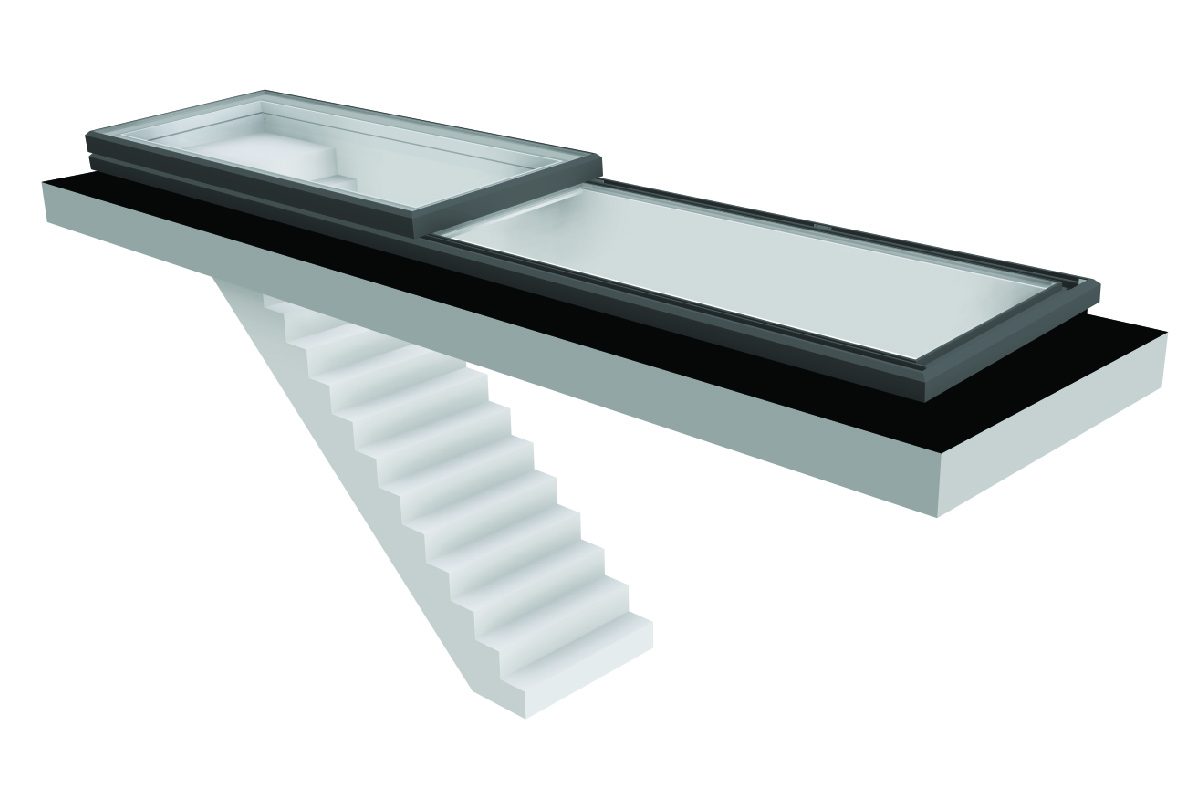 Vision AGI Sliding rooflight. This style is the Slide Over Fixed