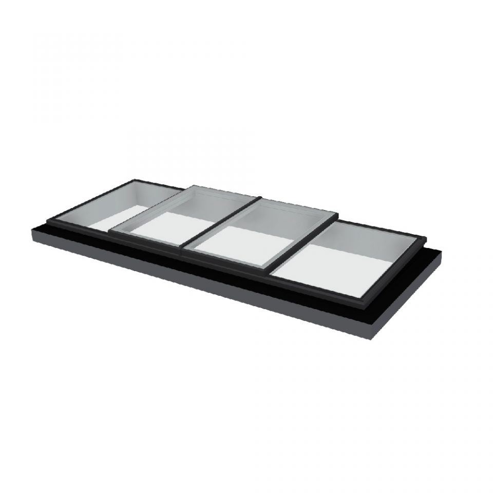 Vision AGI Sliding rooflight. This style is the Bi-Parting Slide Over Fixed